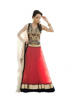 Wedding Wear Black & Red Net Lehenga Choli - 217
