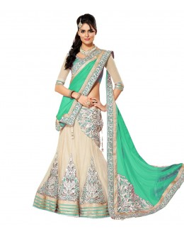 Wedding Wear Cream & Green Lehenga Choli - 201