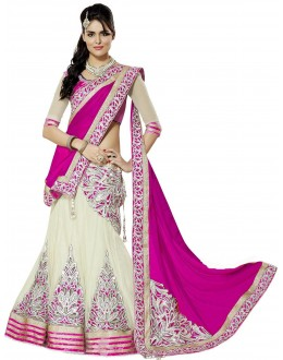Wedding Wear Cream & Pink Lehenga Choli - 205