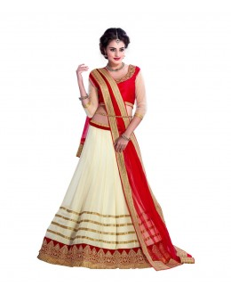 Wedding Wear Cream & Red Georgette Lehenga Choli - 207