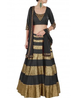 Wedding Wear Golden & Black Lehenga Choli - 221