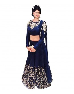 Wedding Wear Navy Blue Bhagalpuri Silk Lehenga Choli - 208