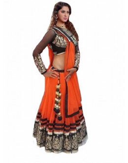 Wedding Wear Orange & Black Lehenga Choli - 220