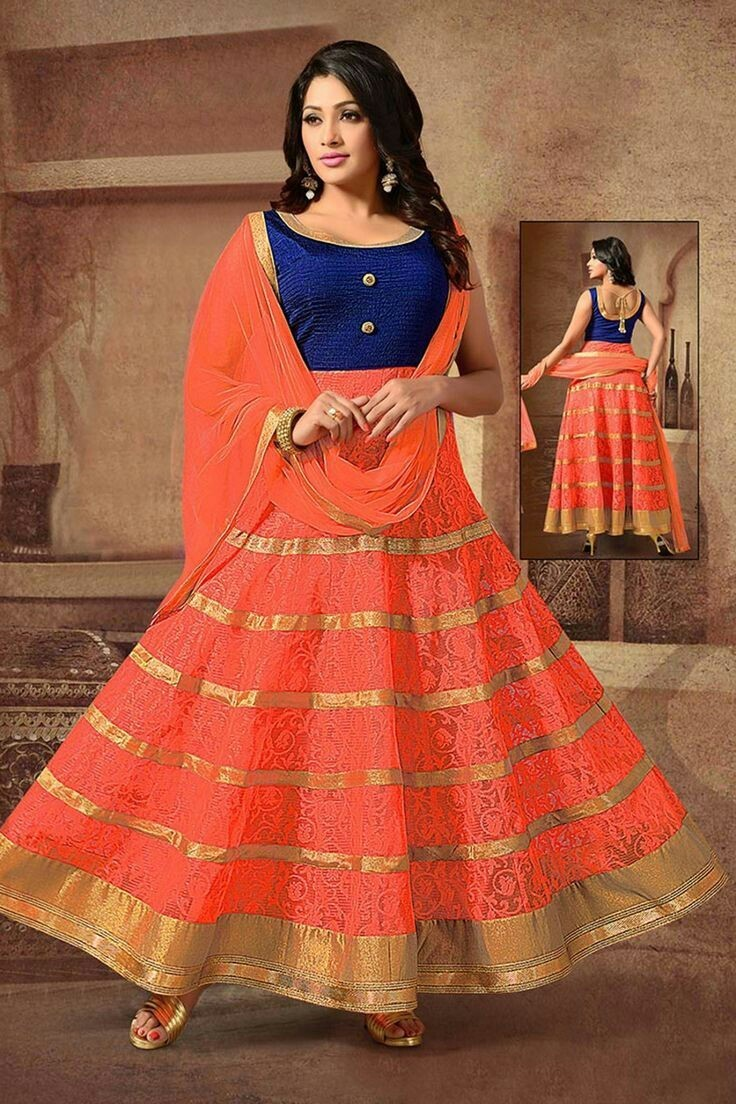 Wedding Wear Orange Net Brasso Lehenga Choli - 232