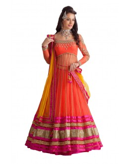 Wedding Wear Orange Net Lehenga Choli - 226