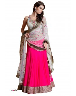 Wedding Wear Pink & Grey Embroidered Lehenga Choli - 206