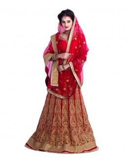 Wedding Wear Red Embroidered Lehenga Choli - 230