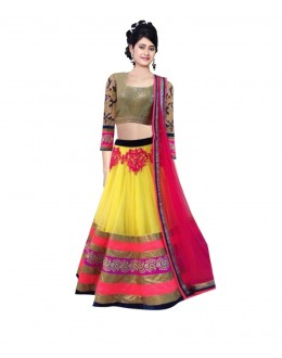 Wedding Wear Yellow & Pink Lehenga Choli - 229