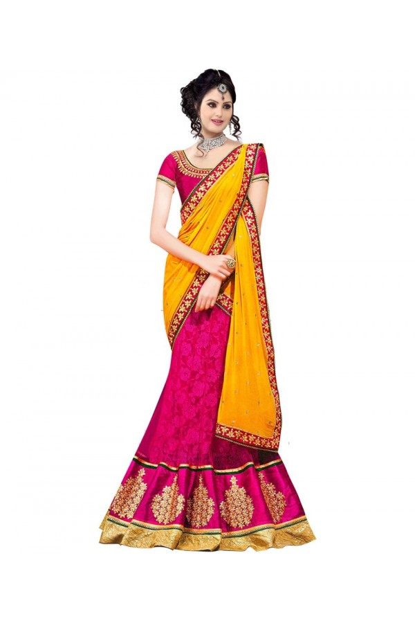 Wedding Wear Yellow & Pink Lehenga Choli - 236