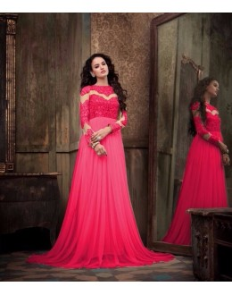 Eid Special Party Wear Net Dark Pink Gown - 303