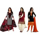 Combo of Black , Grey & Maroon Party Wear Salwar Suit - DAV_Com3
