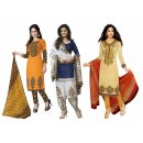 Combo of  Orange , Blue & Cream Party Wear Salwar Suit - DAV_Com1