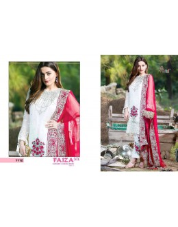 Embroidered White & Rose Red Luxury Salwar Suit - Faiza 1112
