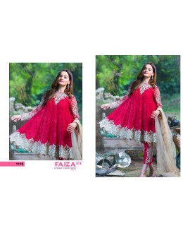 Embroidered Rose Red Luxury Salwar Suit - Faiza 1115