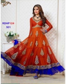 Esha Gupta Designer And Fashionable Orange Shaded Anarkali Dress - RDHP124-501 (RD-9032)