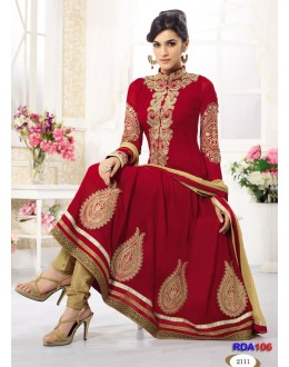 Kriti Sanon Designer Red Embroidered Georgette Anarkali Suit - RDA106-2111 (RD-9032)