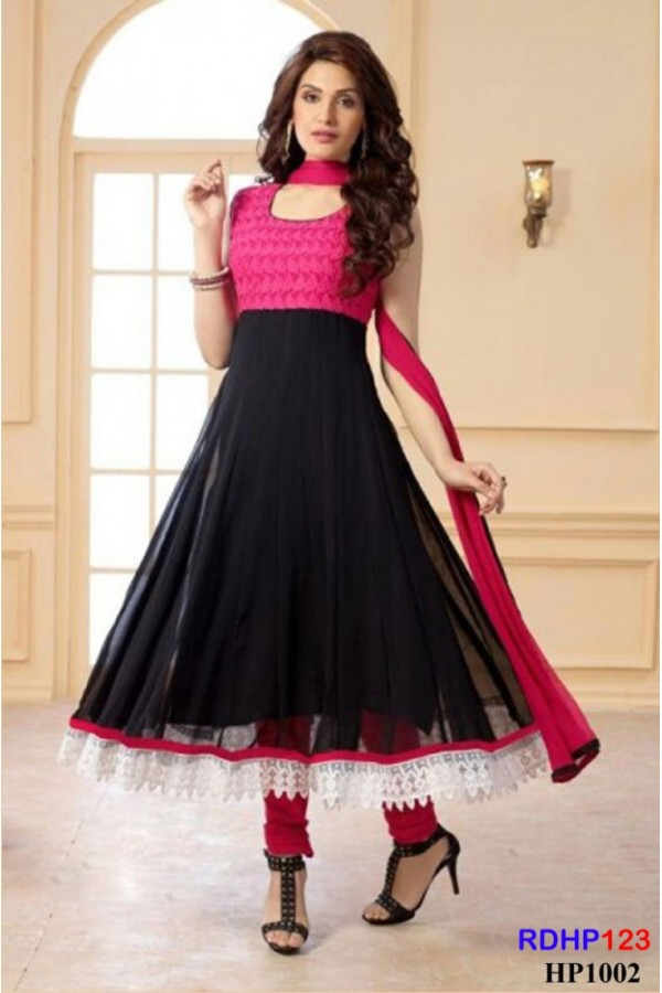 Latest Pink And Black Georgette Anarkali Suit - RDHP123-HP1002 (RD-9032)