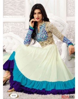 Latest White Heavy Long Length Designer Anarkali Suits - RDA106-2122 (RD-9032)
