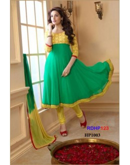 New Designer Aqua Green And Yellow Long Anarkali Suit - RDHP123-HP1003 (RD-9032)