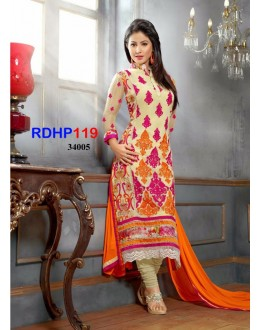 New Hina Khan Cream And Orange Salwar Kameez - RDHP119-10005 (RD-9032)