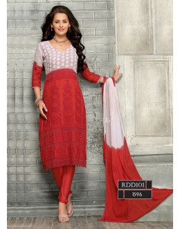 New Latest Red & White Fashion Dress Materials - RDD101-1596 (RD-9032)