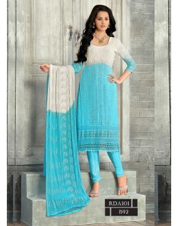 New Latest White & Sky blue Fashionable Dress Materials - RDD101-1592 (RD-9032)