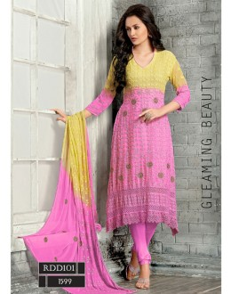 New Latest Yellow & Hot Pink Color Fashion Dress Materials - RDD101-1599 (RD-9032)