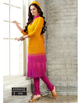 New Latest Yellow & Pink Color Fashion Dress Materials - RDD101-1598 (RD-9032)