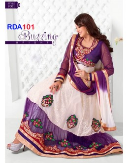 Preeti Jhangiani White And Purple Ankle Length Anarkali Suit - RDA101-7001 (RD-9032)