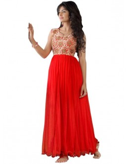 Beautiful Designer Red Embroidered Gown Type Anarkali Suit-RDHP150-1020 ( RD-9032 )