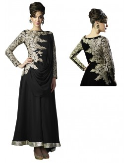 Eid Special Designer Black Georgette Embroidered Fancy Anarkali Suit-RDHP152-01 ( RD-9032 )
