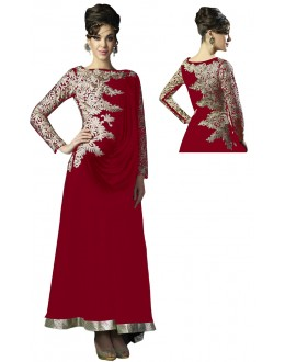 Eid Special Designer Maroon Georgette Embroidered Fancy Anarkali Suit-RDHP152-04 ( RD-9032 )