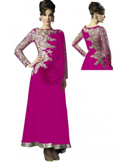 Eid Special Designer Pink Georgette Embroidered Fancy Anarkali Suit-RDHP152-02 ( RD-9032 )