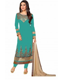 Eid Special Karishma Kapoor in Designer Cyan Colour Georgette Straight Churidar Suit-RDHP154-04 ( RD-9032 )
