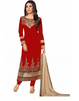 Eid Special Karishma Kapoor in Designer Red Georgette Straight Churidar Suit-RDHP154-03 ( RD-9032 )