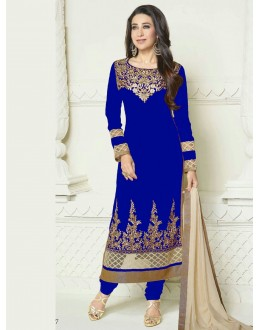 Eid Special Karishma Kapoor in Designer Royal Blue Georgette Straight Churidar Suit-RDHP154-07 ( RD-9032 )