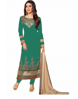 Eid Special Karishma Kapoor in Designer Sea Green Georgette Straight Churidar Suit-RDHP154-05 ( RD-9032 )