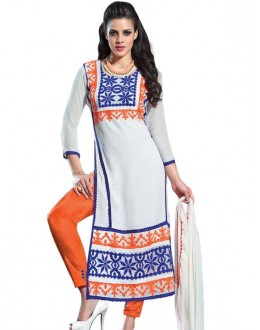Designer Embroidered Off-White Georgette Long Straight Cut Salwar Suit-RDHP163-1037 ( RD-9032 )