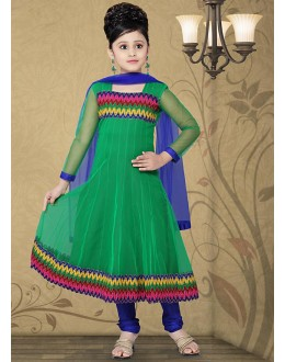 Kids Wear Girl Green & Blue Net Anarkali Suit - 10124