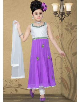 Kids Wear Girl Off White & Purple Georgette Anarkali Suit - 10126