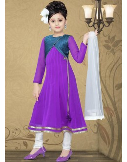 Kids Wear Girl Purple & White Georgette Anarkali Suit - 10127