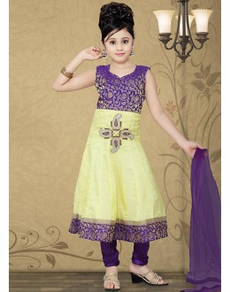 Kids Wear Beautiful Yellow Shimmer Anarkali Suit - 10128
