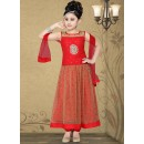 Kids Wear Designer Red Net Anarkali Suit - 10129