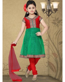 Kids Wear Girl Red & Green Net Anarkali Suit - 10130