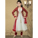 Kids Wear Designer Cream Georgette Anarkali Suit - 10131