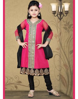 Kids Wear Designer Pink & Black Net Anarkali Suit - 10132