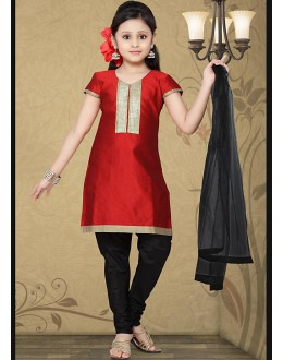 Kids Wear Beautiful Red & Black Cotton Salwar Suit - 10133