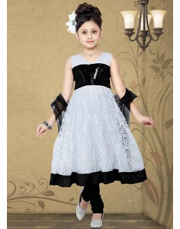 Kids Wear Beautiful White & Black Net Anarkali Suit - 10134