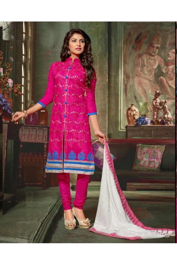 Office Wear Pink Chanderi Cotton Salwar Suit  - 10317