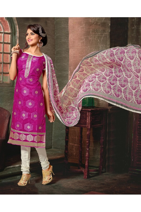 Festival Wear Pink Chanderi Cotton Salwar Suit  - 10320